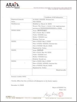新様式戸籍謄本の翻訳例